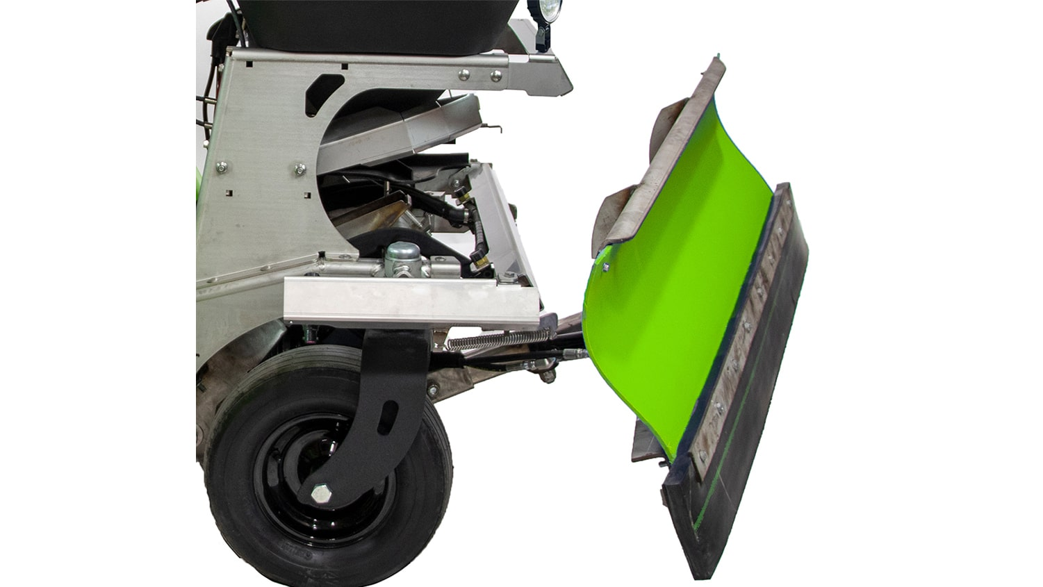 close up of steel green manufacturing spreader-sprayer with snowplow attachment