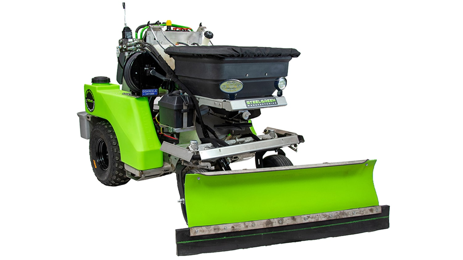 steel green manufacturing spreader-sprayer with snowplow attachment