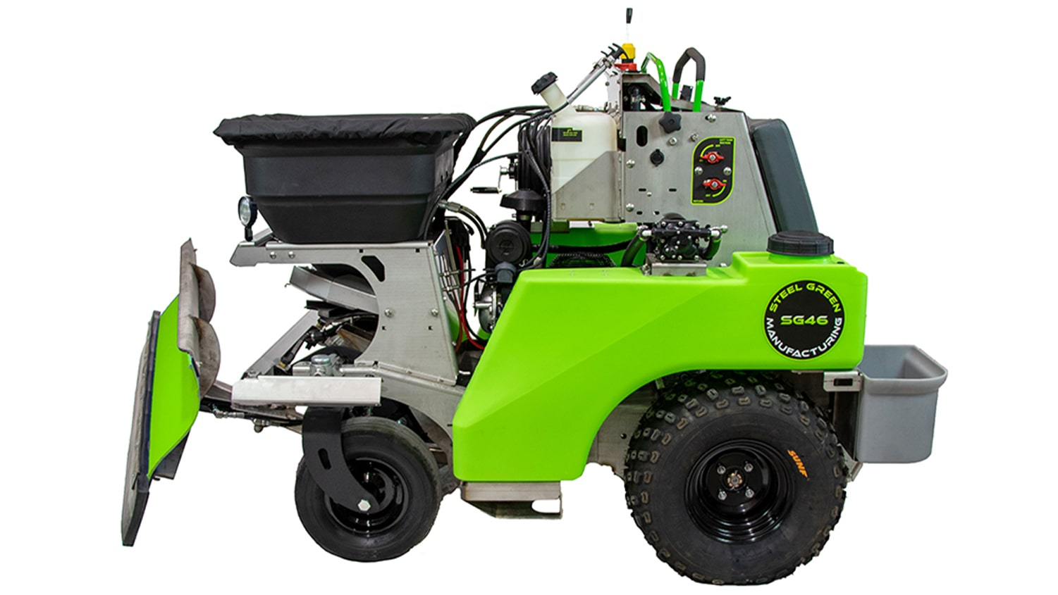side view of steel green manufacturing spreader-sprayer with snowplow attachment
