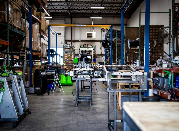 inside steel green manufacturing factory