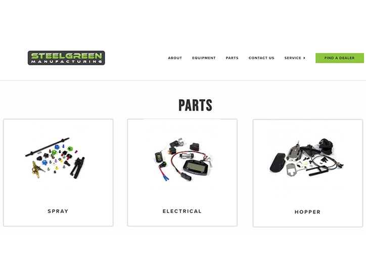 online parts store page of steel green manufacturing website