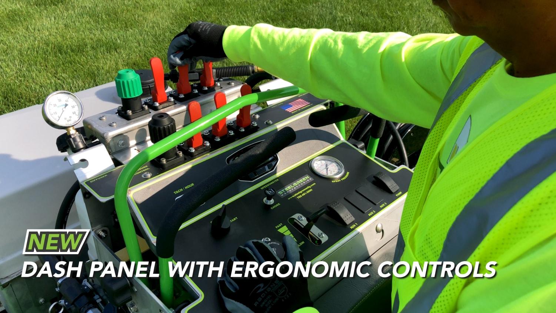 dash panel with ergonomic controls on on steel green equipment
