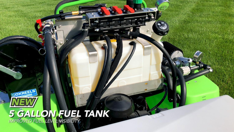 5-gallon fuel tank on steel green equipment
