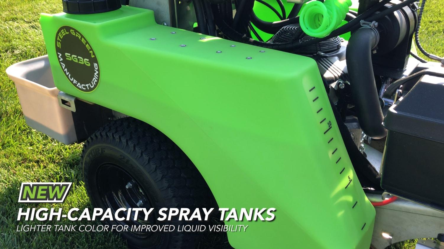 spray tanks on steel green equipment