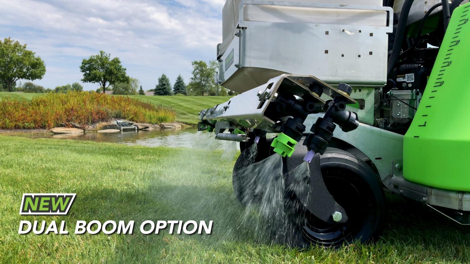 dual boom option on steel green equipment