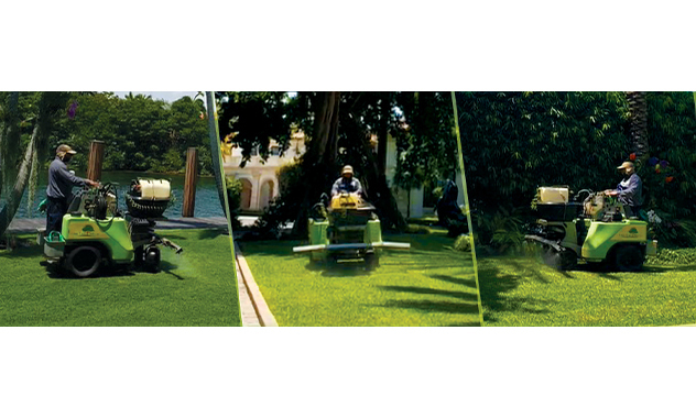 one two tree lawn care maintenance employee working
